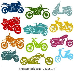 Set of a various motorcycles