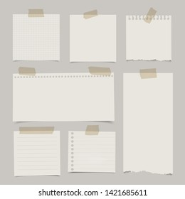 Set of various note papers with adhesive tape.