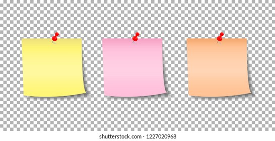 Set of various note papers with curled corner and pinned pushbutton. Note ready for your message.
