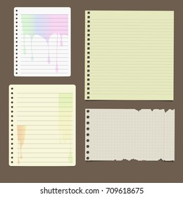 Set of various notebook paper sheets - chequered, ruled and with leaking paint design on dark brown background