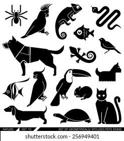 Set of various pet icons. Dog, cat, hamster, parrot, canary, spider, lizard, chameleon, tortoise, snake, aquarium fish. Can be incorporated in logo due to their geometrical style.