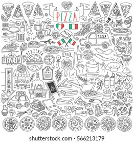 Set of various pizza types, slices and cooking ingredients. Pizzeria tools and delivery service. Freehand vector drawings set isolated on white background.