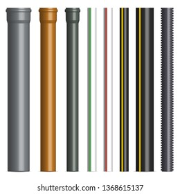 Set of various plastic pipes for sewage, gas and water pipe isolated on white background. Front view, vector illustration.