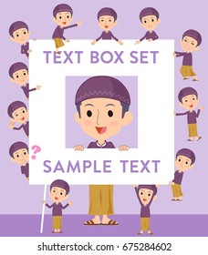 Set of various poses of Arab man purple style text box