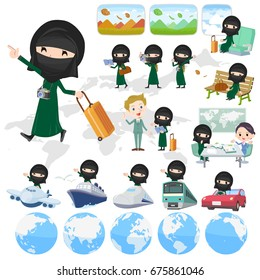 Set of various poses of Arab woman niqab Style travel