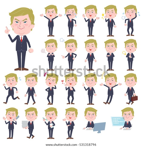 Set of various poses of Blond hair suit style Old man