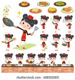 Set of various poses of Chinese ethnic clothing woman cooking