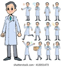 Set of various poses of Doctor man in hand painted