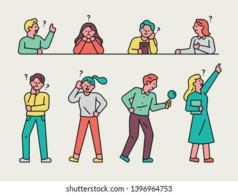 A set of various poses of people who are looking for something. flat design style minimal vector illustration