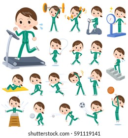 Set of various poses of school girl Green jersey Sports & exercise