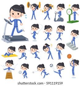 Set of various poses of school girl blue jersey Sports & exercise