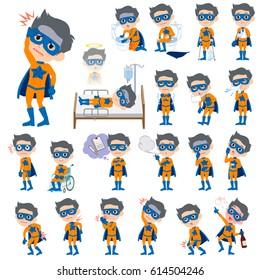 Set of various poses of super hero man orange Blue sickness
