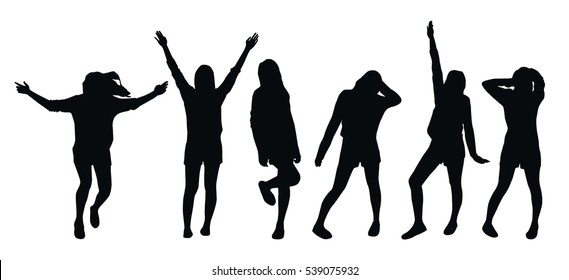 Set of various poses of a young girl - black silhouettes on white background