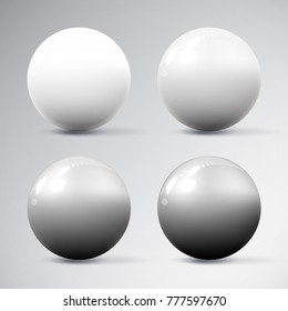 Set of various realistic dimensional white spheres with reflections and shadows isolated on white background. Vector illustration for your graphic design.