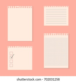 Set of various ripped note paper. Vector
