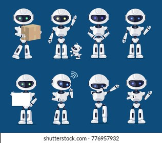 Set of various robots activity vector illustration with many ai machines carrying box, playing with puppy, dabbing and standing, speaking and dancing