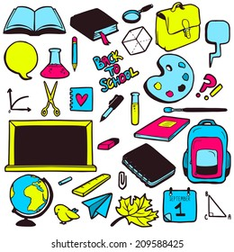 Set of various school elements, colorful hand drawn collection of objects