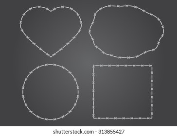 set of various shapes and frames of barbed wire: square, circle, heart
