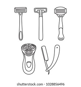 Set of various shaving razors - disposable, open blade and electric, hair removal tools, line art, drawing, vector illustration isolated on white background. Black and white drawing of shaving razors