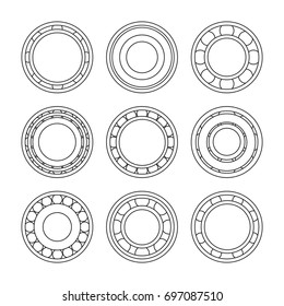 Set of various simple metal bearings shapes. Vector illustration for your graphic design.