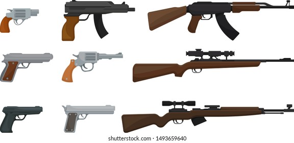 Set of various small arms. Vector illustration on a white background.