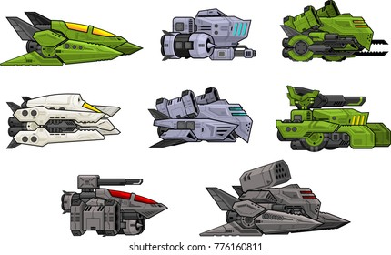 A set of various space ship for creating 2d side scrolling space shooter video games
