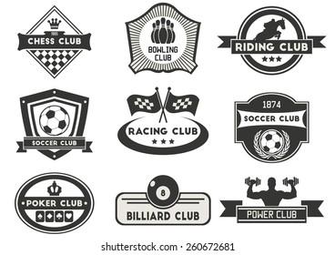 Set of various sport emblems