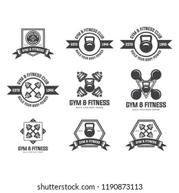 Set of various sports and fitness logo graphics and icons. set of fitness badges with sport equipment. Labels in vintage style with sport silhouette symbols.