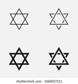 Set of various Star of David outline vector icons.