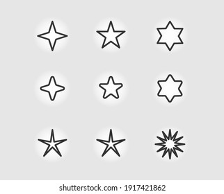 set of various Star shape icons vector image