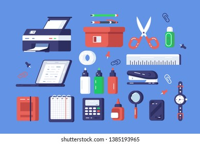 Set of various stationery vector illustration. Different chancellery tools include printer, classical watches, scissors and stapler flat style design. Office elements concept. Isolated on blue