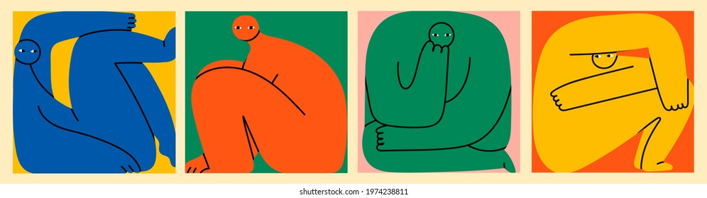 Set of various strange creatures or people or persons with long arms and small heads. Cute disproportionate isolated characters inscribed in squares in different poses. Hand drawn Vector illustration
