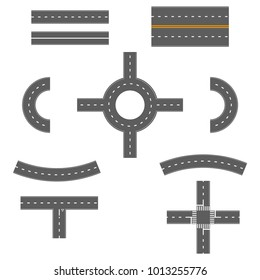 Set of various street, road and highway elements. Isolated on white background. Vector illustration.