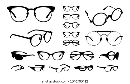 set of Various stylish Eye Glasses Frame Silhouette vector illustration