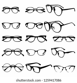 set of Various stylish Eye Glasses Frame Silhouette vector illustration - Vector