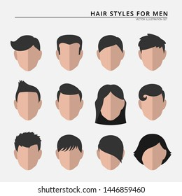 Set of various stylized male hair styles
