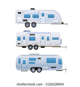 Set of various trailers. Modern motorhomes, mobile homes on wheels, for travel around country, and for trips to nature. Vans, vehicle trailer, camping, family traveling by car. Vector illustration.