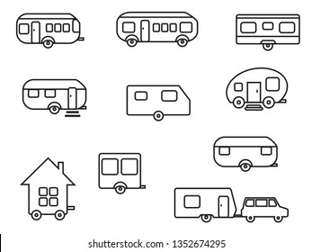 Set of various trailers on a white background. Vector illustration.