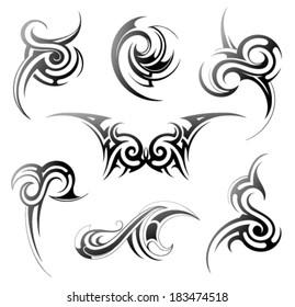 Set of various tribal art elements