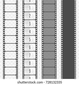 Set of various types film strip isolated on transparent background. Camera and cinema films concept. Film countdown numbers. Vector illustration EPS 10.