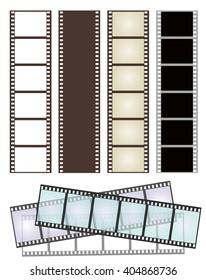 set of various types of film strips on white for Your design. vector illustration