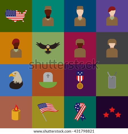 Set of various USA icons veteran day graphics, icons or badges and design elements