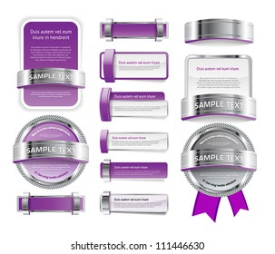 A set of various vector badges banners and buttons, of glass metal and plastic, in purple tones