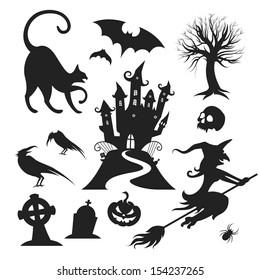 Set of various vector halloween design elements