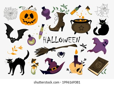 A set of various vector illustrations for Halloween. Elements for the design of packaging, postcards, posters, menus. Clipart on a white background.