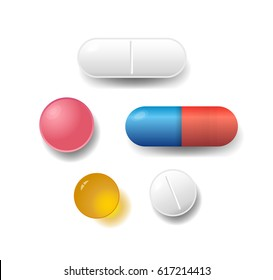 Set of various vector pills and tablets isolated on white background