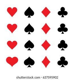 Set of various vector playing card suit icon styles. Hearts, Spades, Diamonds, Clubs.