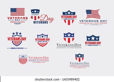 set of various veteran day vector graphic design templates, labels, symbols, symbols and design elements of Veterans Day.