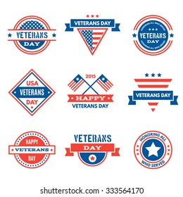 Set of various Veterans day graphics, objects and labels, emblems, symbols, icons and badges. Veterans day Vector templates and design elements.