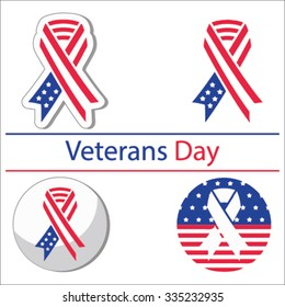 Set of various Veterans day graphics objects and labels, Veterans day emblems, Veterans day symbols, Veterans day icons and badges. Veterans day Vector templates and Veterans day design elements.